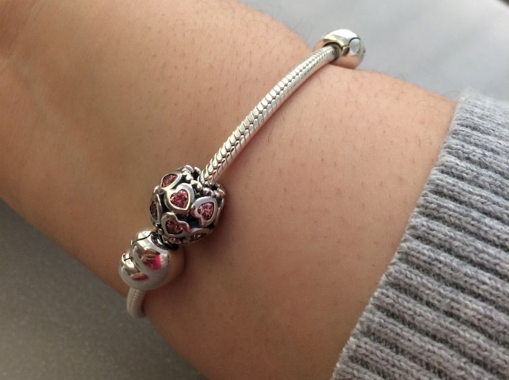 I purchased the limited edition Valentines Day bracelet set from Pandora Jewelry.
