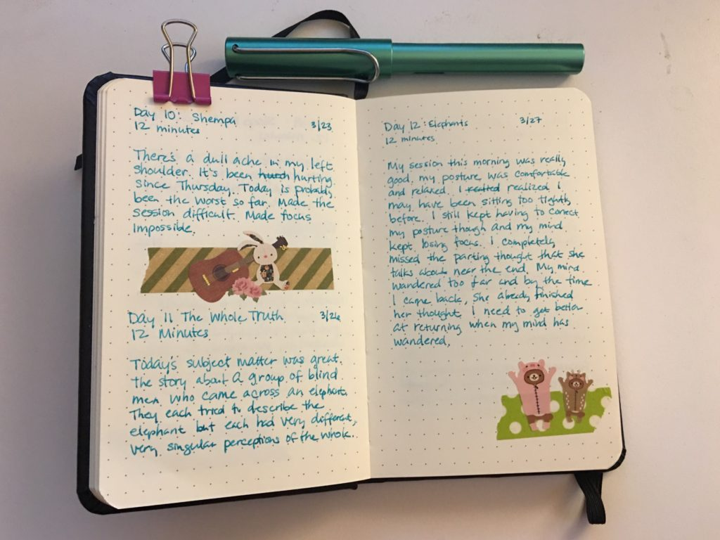 Meditation journal pages
